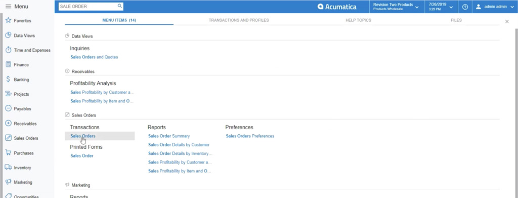 Selecting sales order module in Acumatica