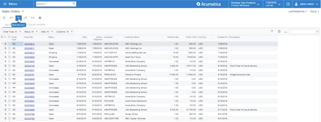 adding a new record in acumatica sales order module