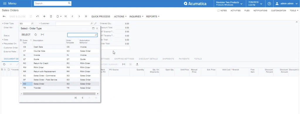 how to view sales order types in acumatica sales order module