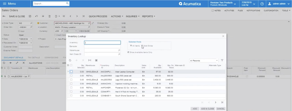 "selecting ""sold since"" radio dot in acumatica"