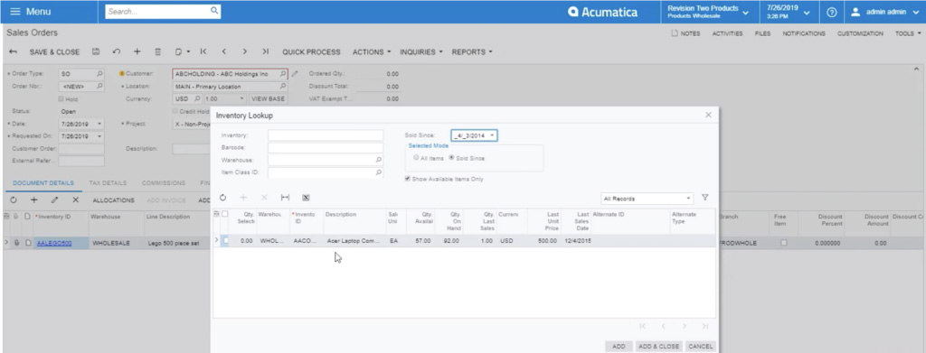 showing a customer's order history in acumatica's sales order module
