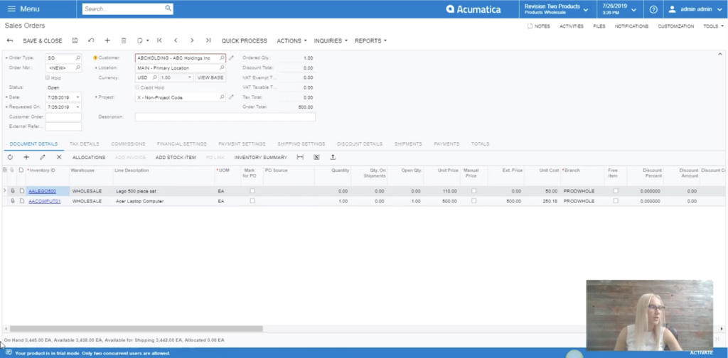 inventory info on bottom bar in acumatica sales order module