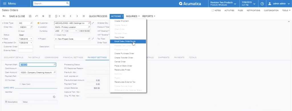 Email Sales Order/Quote in Acumatica
