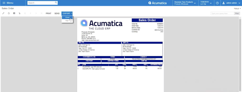 Exporting your Acumatica Sales order report as an excel file or PDF file