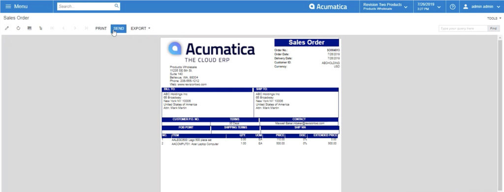 Sending your acumatica sales order report