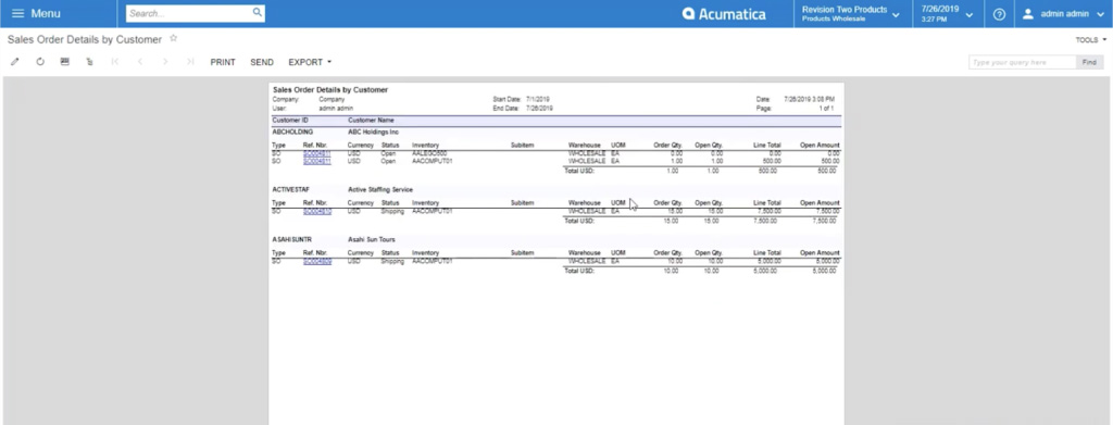 View of an acumatica sales order report
